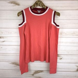 NWT Bar III Varsity Cold-Shoulder Sweater Caicos